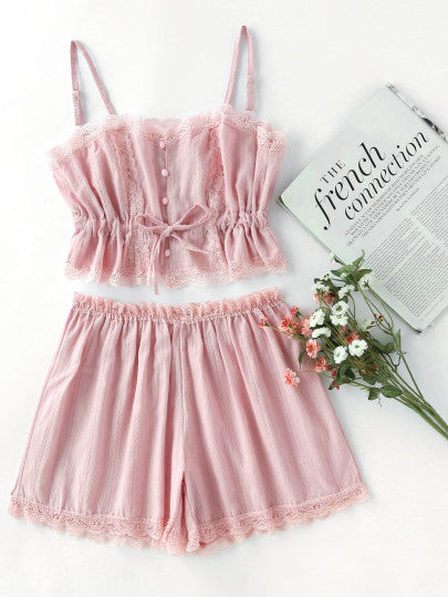Cute Pink Lace Cami With Shorts Pajama Set