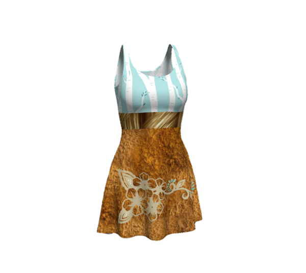 Turquoise Birch Forest Tan Leather Ayasha Flower Designer Dress