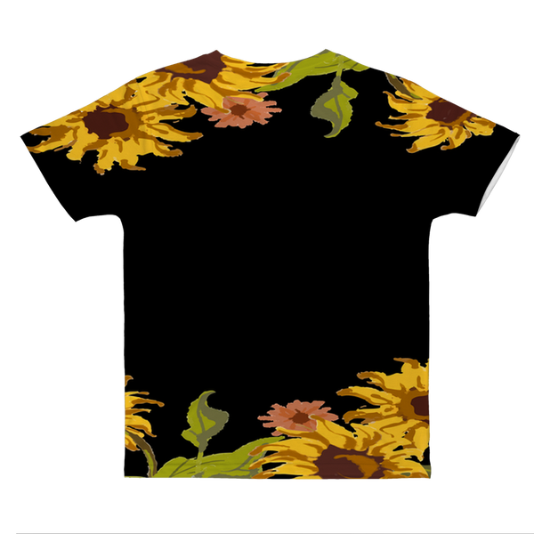 Sunflower Patch with Black Background Classic Sublimation Adult T-Shirt
