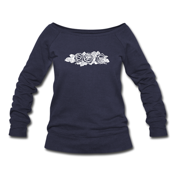 Rose Flowers Women's Wideneck Sweatshirt - melange navy