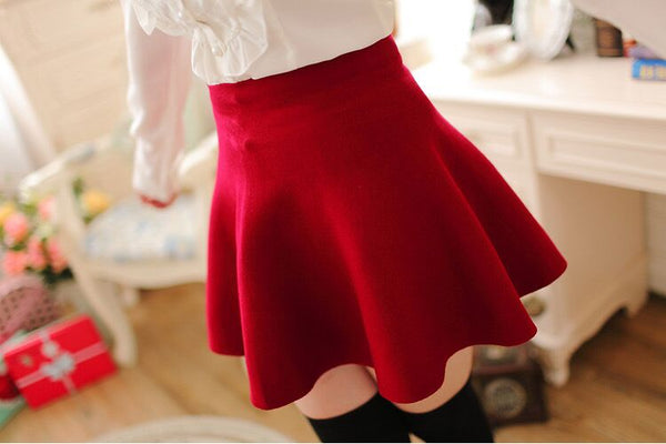 High-Waist Gabardine Pleated Skirt