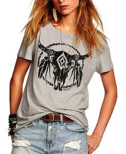 Native American Bull with Feathers Women's T-shirt