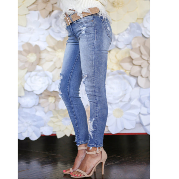 Stone Washed Mid Waist Womens Jeans