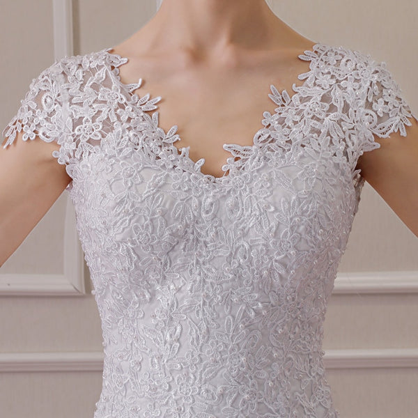 Elegant Pearl Beaded Wedding Dress