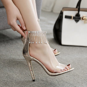 Transparent Rhinestone Stiletto High Heels