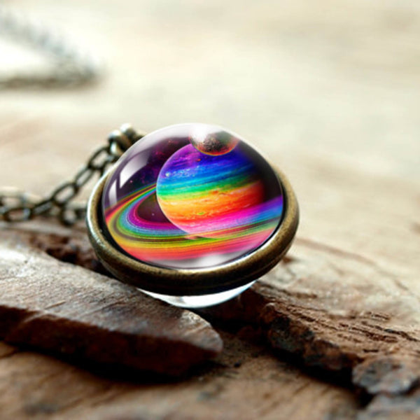 Universe Galaxy Double Sided Planet Pendant Necklace