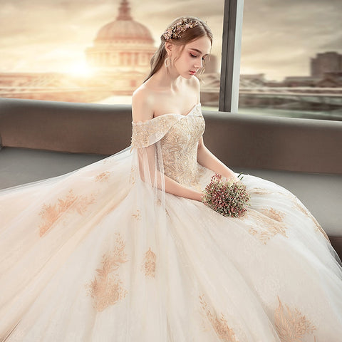 Elegant Ballgown Floral Wedding Dress