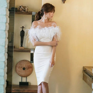Chic White Feather Dress
