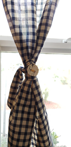 Navy Blue Tartan Check Vintage Kitchen Curtains with Birchbark Button Ties
