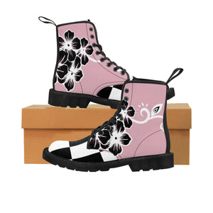 Women's Fashion Pink and Black Buffalo Check Plaid Flower Ayasha Martin Boots - https://www.ayashaloyadesigns.com/collections/indigenous-woodlands-collection-of-shoes