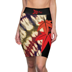 Tie-Dye Maple Leaf Women's Pencil Skirt
