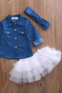 3 Pc Baby Girl Denim Shirt Tutu Skirt Outfit
