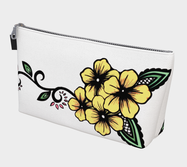 Yellow Floral Motif Ayasha Cosmetic Makeup Bag - https://www.ayashaloyadesigns.com/products/yellow-floral-motif-ayasha-cosmetic-makeup-bag