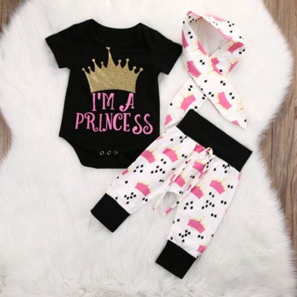 3pcs Baby Girls Princess Outfit