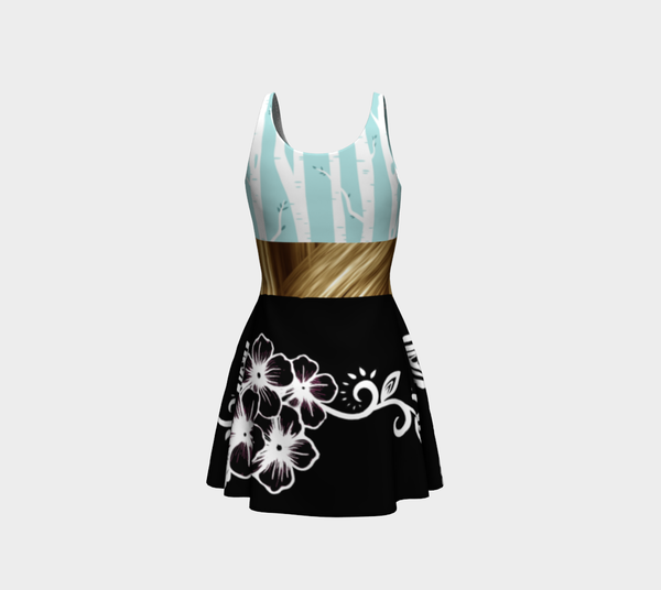 Turquoise Birch Forest Black Ayasha Flower Designer Dress