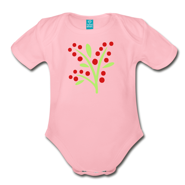 Tasty Red Berries Woodlands Organic Short Sleeve Baby Bodysuit - light pink