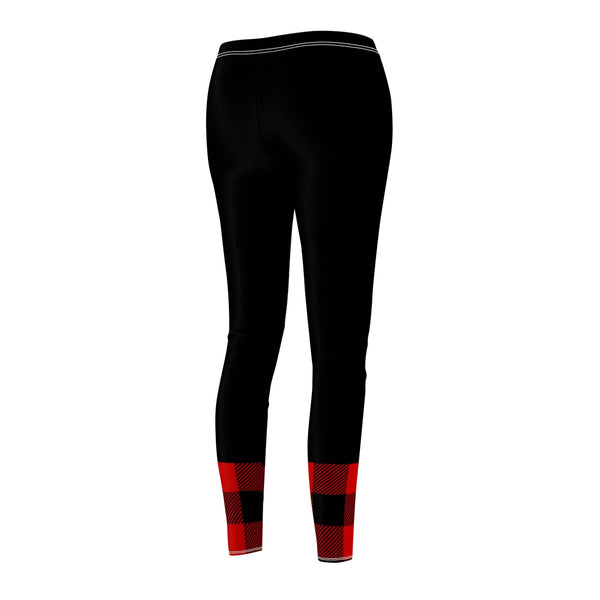 Black and Red Buffalo Check Plaid Women's Cut & Sew Casual Leggings