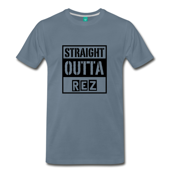Straight Outta REZ Men's Premium T-Shirt - steel blue