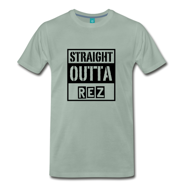 Straight Outta REZ Men's Premium T-Shirt - steel green