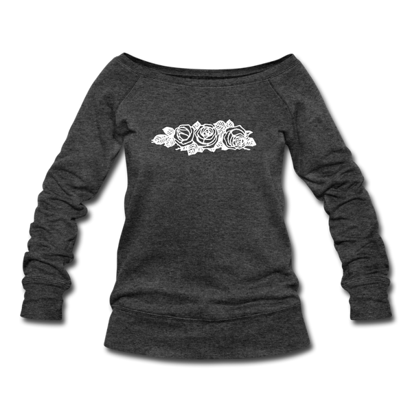 Rose Flowers Women's Wideneck Sweatshirt - heather black