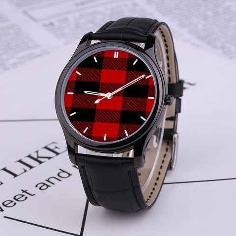 Buffalo Check Red and Black Plaid 30 Meters Waterproof Quartz Fashion Watch With Black Genuine Leather Band