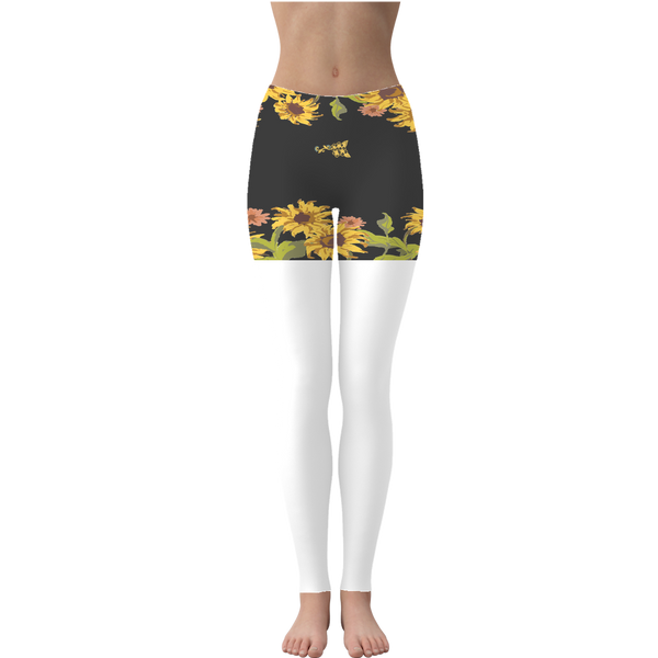 Sunflower Patch with Black Background Leggings