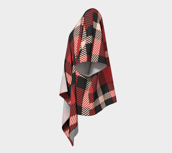 Tartan Buffalo Plaid Cardigan Shawl for Women