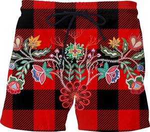 Red and Black Check Plaid Firekeepers Swim Shorts