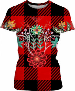 Red and Black Check Plaid Firekeepers Floral Motif Women's T-Shirt - https://www.ayashaloyadesigns.com/products/red-and-black-check-plaid-firekeepers-floral-motif-womens-t-shirt