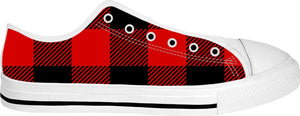 Red and Black Plaid Designer White Low Tops