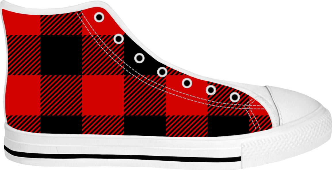 Red and Black Plaid Designer White High Tops