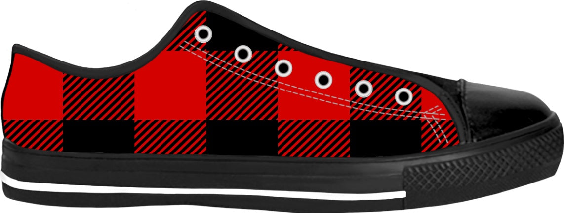 Red and Black Buffalo Check Plaid Designer Low Top Fashion Sneakers