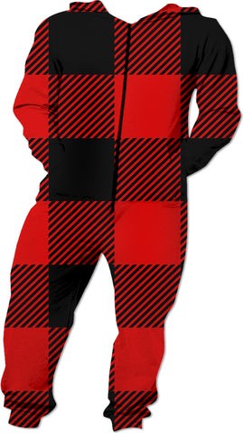 Red and Black Buffalo Check Plaid Designer Fashion Onesie