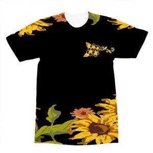 Sunflower Patch with Black Background Premium Sublimation Adult T-Shirt