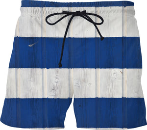 Navy Blue and White Striped Men's Swim Shorts