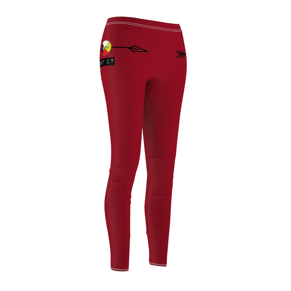 Women's Red Athletic Sports Leggings