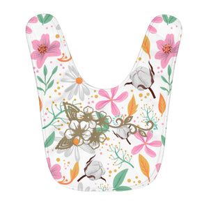 White Flower Ayasha Fleece Baby Bib - https://www.ayashaloyadesigns.com/products/white-flower-ayasha-fleece-baby-bib