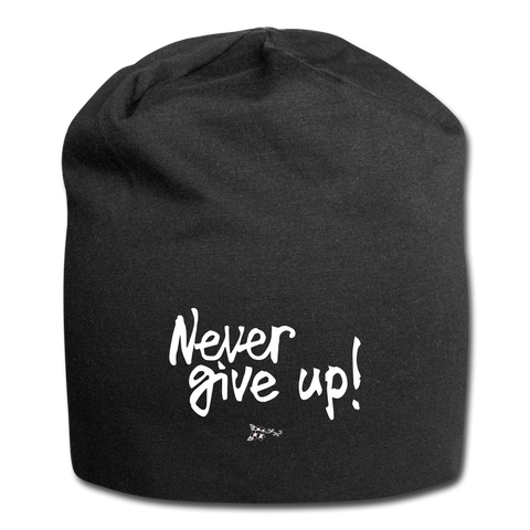 Never Give Up Jersey Beanie - black