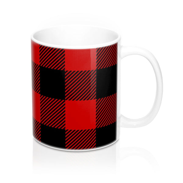 Red and Black Buffalo Check Plaid Coffee Mug