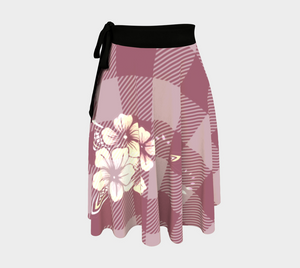 Pink Checkered Plaid Flower Wrap Skirt