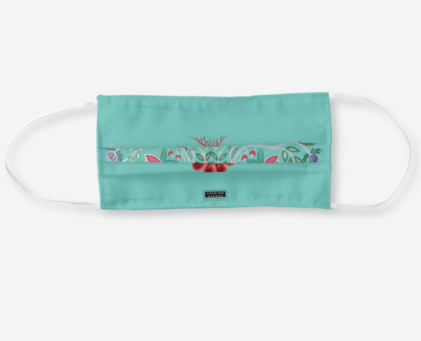 Anishinaabe Floral Turquoise Cloth Face Mask