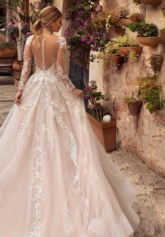 Woodlands Floral Leaf Sexy V-Neck Wedding Dress