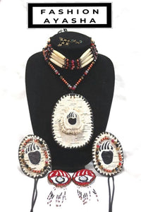 Anishinaabe Ojibwe Fashion Ayasha Native American Makwa Birch Jewelry Set by Ayasha Loya