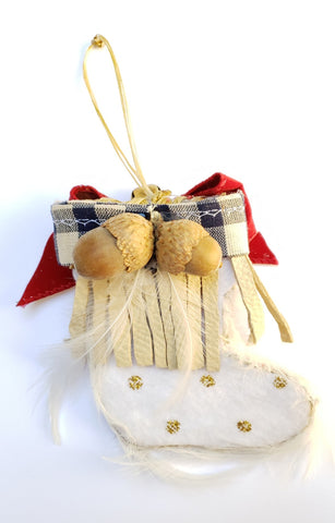 Handmade Native American Moccasin Christmas Decoration