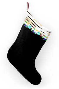 Birch Ojibwe Floral Black Christmas Stockings