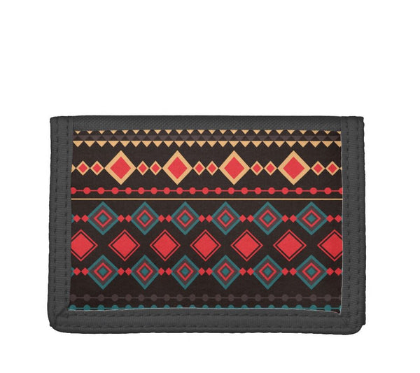 Black and Red Tribal Pattern Trifold Wallet