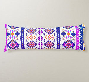 Blue and Pink Native American Pattern White Body Pillow
