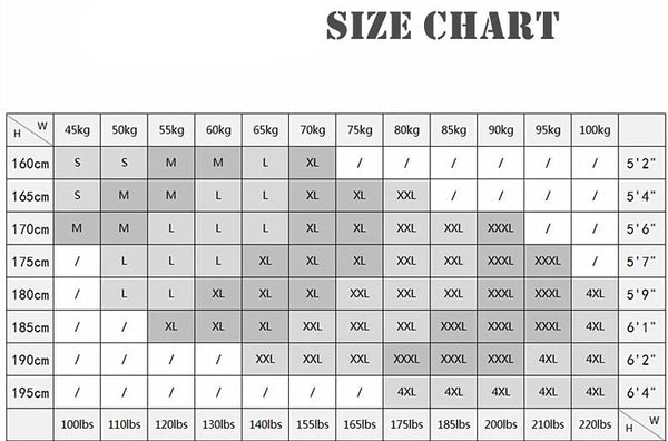 Men's Long Sleeve Shirt - Size Chart