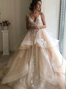 Champagne Ruffles Wedding Dress