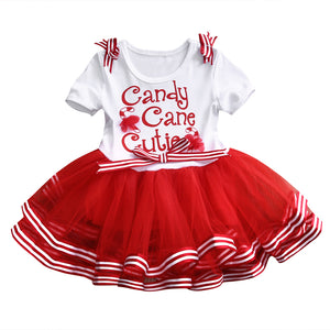 Candy Cane Cute Tulle Baby Girls Christmas Dress Outfit